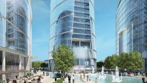 Warsaw Spire będzie najwyższym biurowcem Warszawy. Koniec budowy planowany jest na 2014 roku - wizualizacja 1. Fot. Ghelamco.