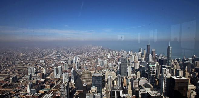 Panorama Chicago widoczna z Willis Tower, najwyższego budynku w USA