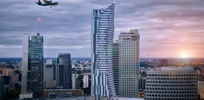 Widok na wieżowce w centrum Warszawy