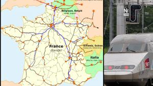 Mapa sieci połączeń pasażerskich kolei francuskich (SNCF), uwzględniająca międzynarodowe połączenia pociągami TGV. Źródło: Wikimedia Commons. Autor mapy: madcap. Praca oparta na mapie opublikowanej na stronie internetowej firmy SNCF.