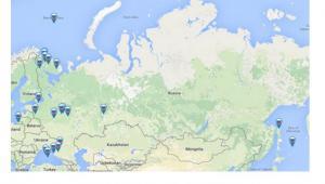 Mapa rosyjskich manewrów wojskowych, które przeprowadzano w dniach 16-21 marca 2015. Źrodło: European Leadership Network