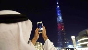 Burj Khalifa w kolorach Francji. EPA/ALI HAIDER Dostawca: PAP/EPA.