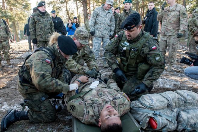 Wspólne szkolenie polskich i amerykańskich żołnierzy na poligonie pancernym w Świętoszowie  fot. (mr) PAP/Maciej Kulczyński