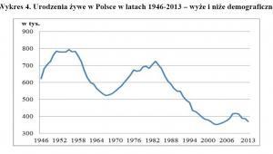 Urodzenia w Polsce w latach 1946-2013 - wyże i niże demograficzne, źródło: GUS
