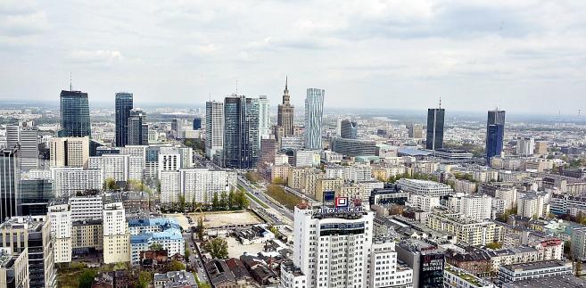 Widok na centrum Warszawy z 41. piętra Warsaw Spire