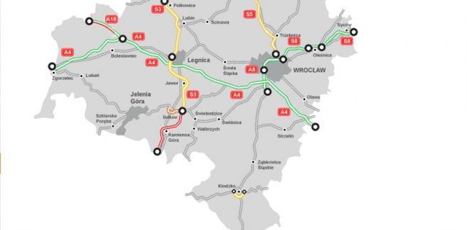 Mapa Stanu Budowy Dróg - dolnośląskie