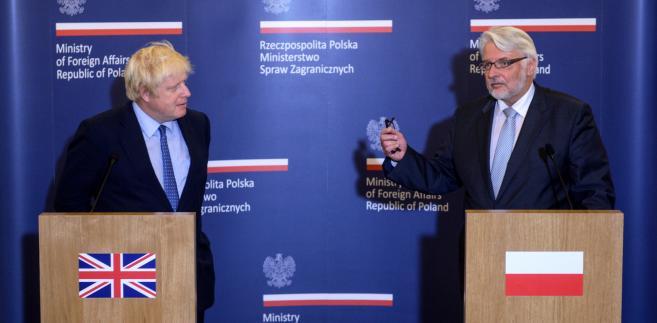Ministrowie spraw zagranicznych RP Witold Waszczykowski i Wielkiej Brytanii Boris Johnson w Belwederze w Warszawie.