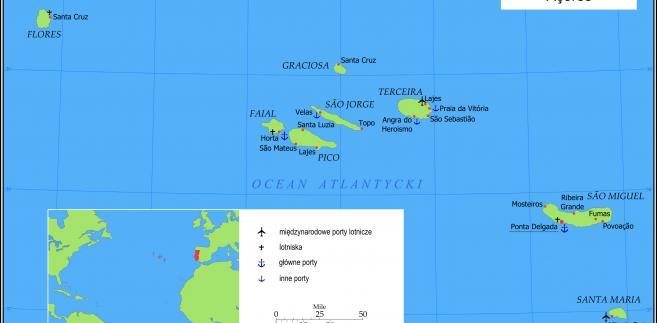 Archipelag Azorów na Oceanie Atlantyckim. Autor: Krzysztof - Praca własna przy użyciu Inkscape, CC BY-SA 3.0