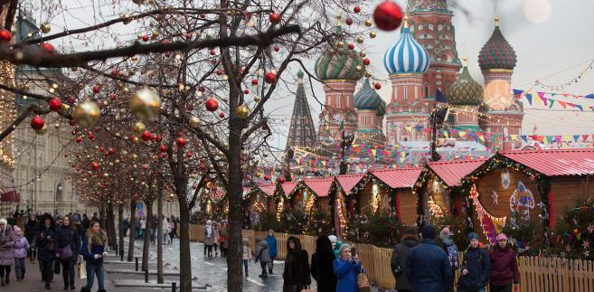 Plac Czerwony w Moskwie, Rosja, 28.12.2016