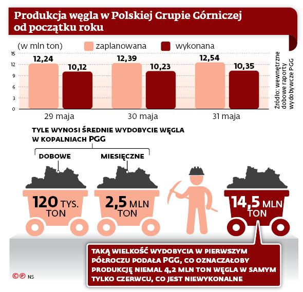 Produkcja węgla w Polskiej Grupie Górniczej od początku roku