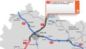 S7 na odcinku - granica województwa  – węzeł drogowo-kolejowy w Skarżysku-Kamiennej