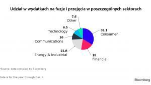 Udział w wydatkach na fuzje i przejęcia w poszczególnych sektorach
