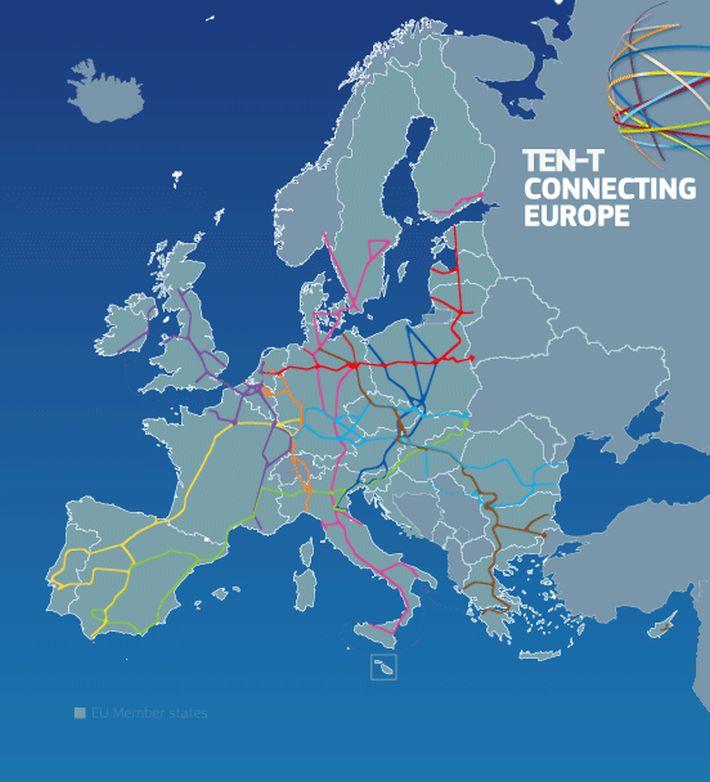 """Europejska sieć transportowa - projekt """"Łącząc Europę"""", źródło: KE"""