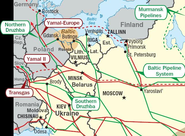 Rurociągi Europy Wschodniej. W lewym dolnym narożniku rurociąg Odessa-Brody, źródło:  United States Department of Energy, domen publiczna
