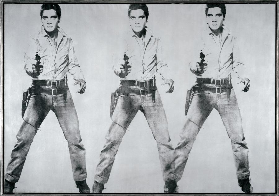 `Potrójny Elvis'' z 1963 roku Andy'ego Warhola. Źródło: Gagosian Gallery via Bloomberg.