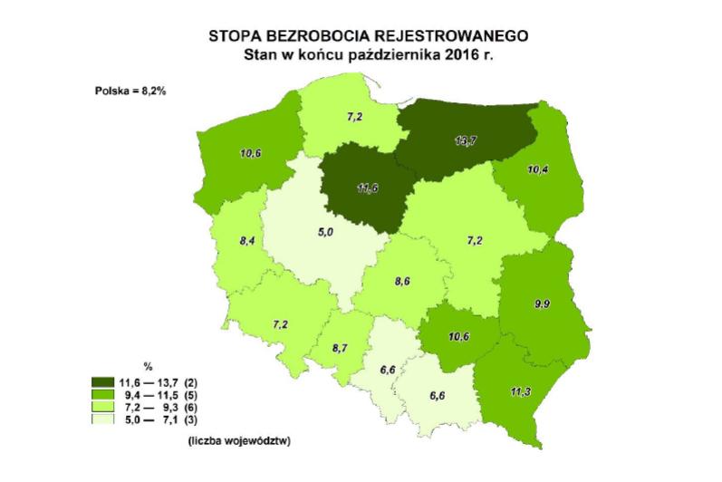 Stopa bezrobocia w październiku 2016 - województwa , źródło: GUS