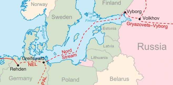 Schemat przebiegu gazociągu Nord Stream. Grafika: Samuel Bailey (sam.bailus@gmail.com) - Praca własna, CC BY 3.0