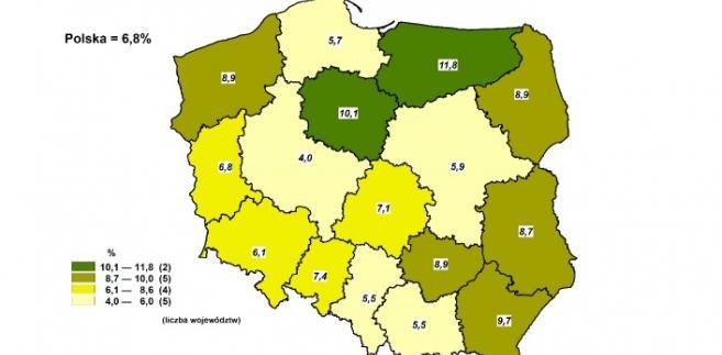 Bezrobocie w województwach GUS
