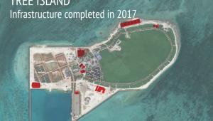 Infrastruktura wojskowa Chin na Wyspie Tree w archipelagu Wysp Spratly na Morzu Południowochińskim. Źródło: Asia Maritime Transparency Initiative/Digital Globe