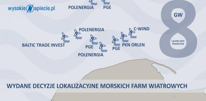 Lokalizacje farm wiatrowych