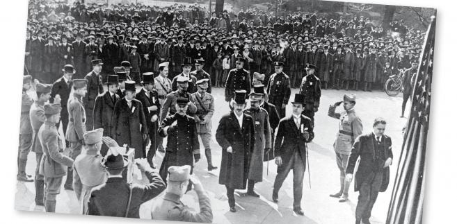 Ignacy Paderewski z drugą misją wojskową gen. Józefa Hallera, Nowy Jork, marzec 1918 r. fot. NAC