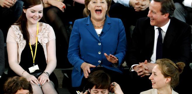 Angela Merkel i David Cameron podczas telewizyjnej debaty ze studentami